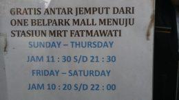 Shuttle Bus Menuju MRT Fatmawati di One Belpark Mall