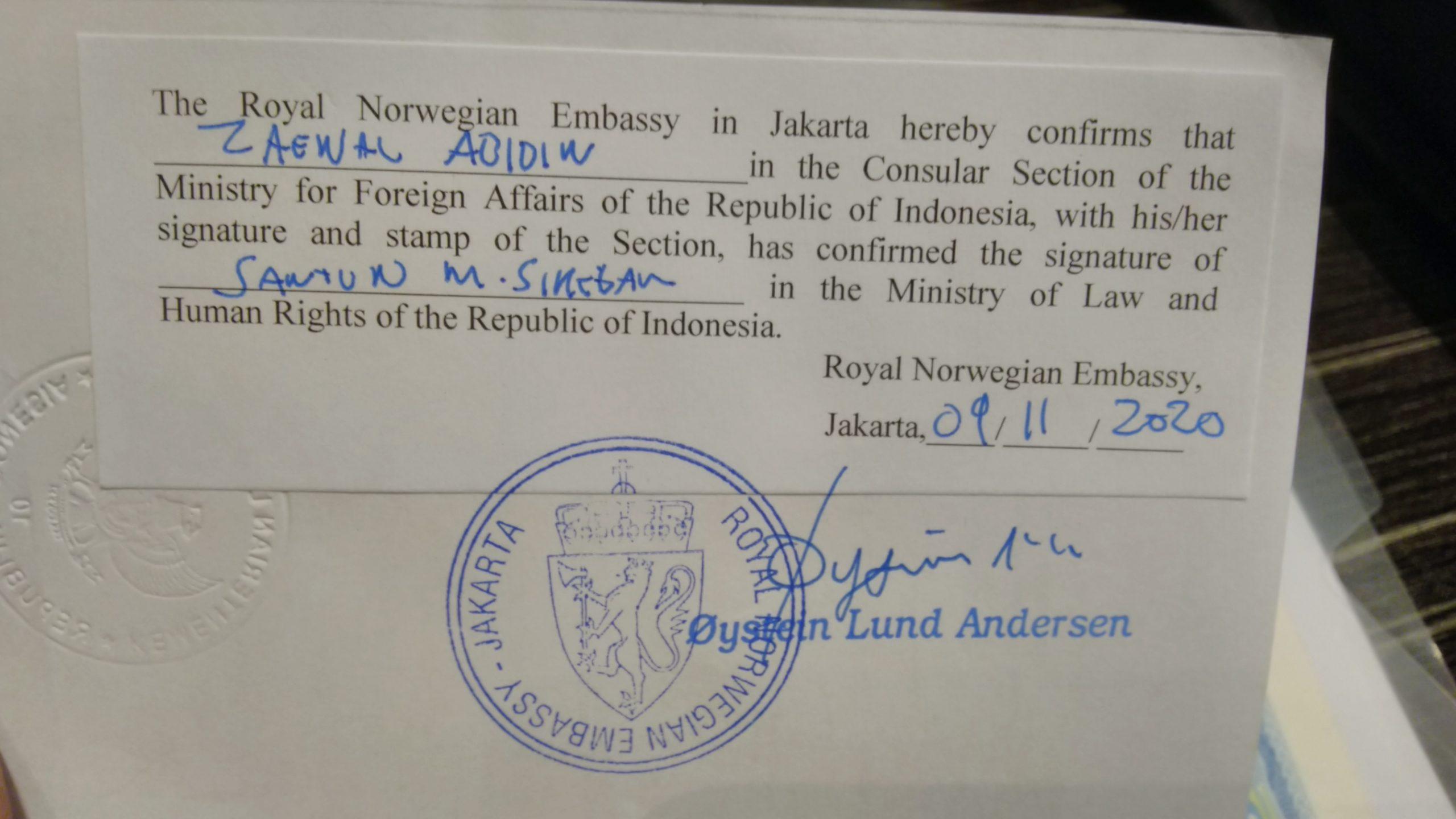 Legalisir di Kedutaan Norwegia Jakarta – Pengalaman Singkat