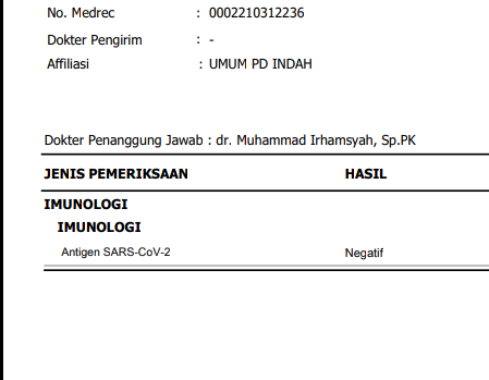 Pengalaman Tes Antigen Covid19 di Jakarta Selatan